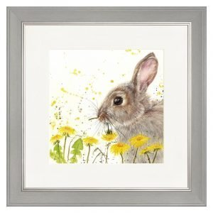 Dandelions & Hare Grey Framed Print