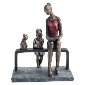 Mother, Daughter & Cat on a bench Sculpture