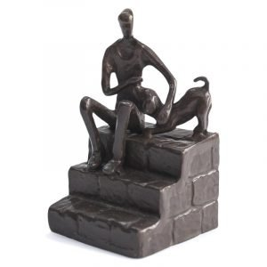 Man With Dog On Steps Sculpture