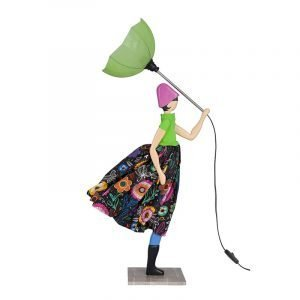 Lady With Green Umbrella Lamp