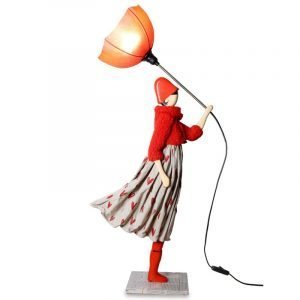 Lady With Red Umbrella Lamp
