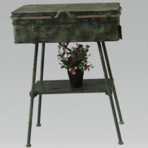 Vintage Metal Suitcase On Stand