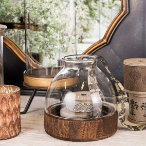Hurricane Lamp On Wooden Base