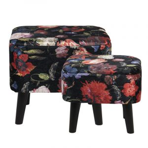 Black Floral Patterned Foot Stool Large