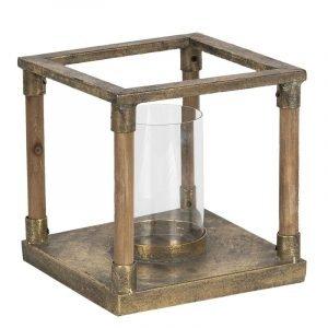 Vintage Bronze & Wood Lantern Small