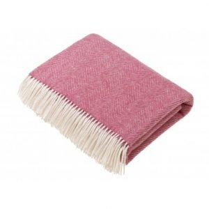 Pink Herringbone Shetland Wool Throw