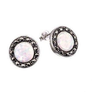 Opal Marcarsite Silver Stud Earings