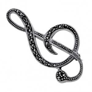 Marcasite Silver Music Note Brooch