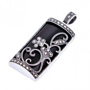 Stunning Black & Filigree Marcasite Silver Pendant