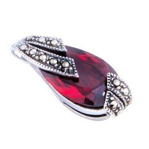 Pear Drop Garnet Marcasite Silver Pendant