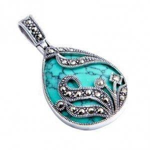 Turquoise & Filigree Marcasite Silver Pendant