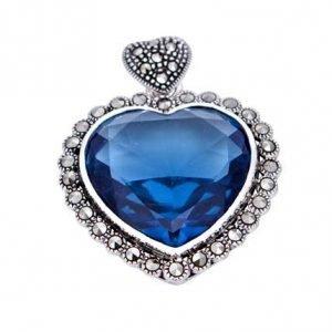 Titanic Style Sapphire Heart Marcasite Silver Pendant