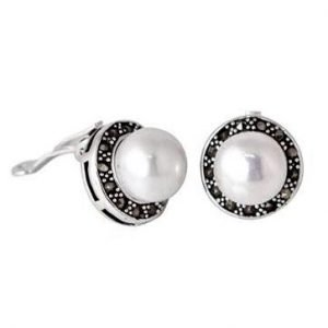 Pearl Marcasite Silver Clip On Earings