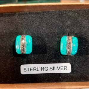 Turquoise Marcasite Silver Stud Earings