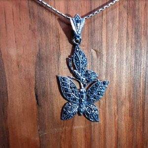 Butterfly Marcasite Silver Pendant