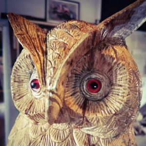 Hand Carved Life Size Owl Sculpture