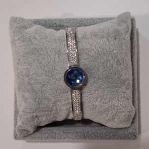 Silver Bangle With Interchangeable Stone