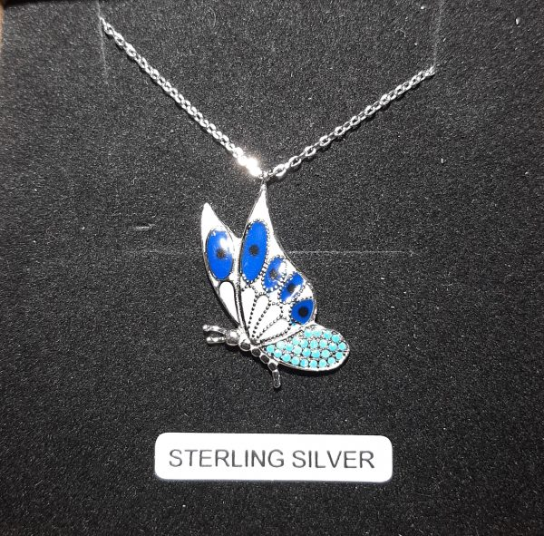 Blue Dragon Fly Sterling Silver Pendant