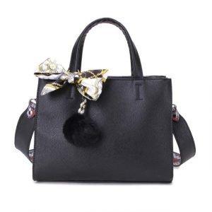 Black Hand Bag with Silk Tie & Pom Pom