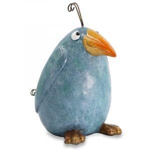 Ceramic Pottery Blue Crazy Bird