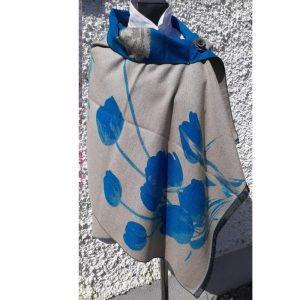 Light Grey Cashmere Wrap with floral blue tulip design