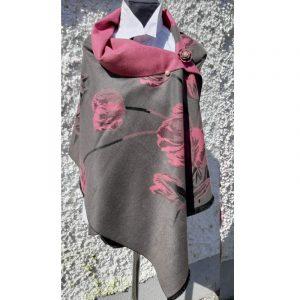 Grey Cashmere wrap with pink dahlia floral design