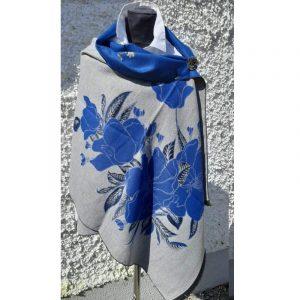 Light Grey coloured Cashmere Wrap with blue floral design