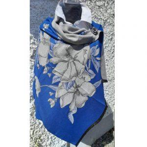 Azure Blue coloured Cashmere wrap with large grey floral design