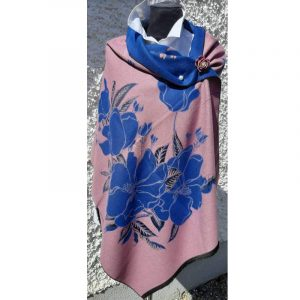 Mauve coloured Cashmere wrap with large azure blue floral design