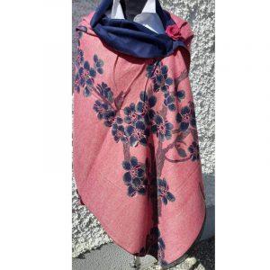 Dusky Pink Cashmere wrap with cherry blossom design