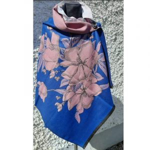 Azure Blue Cashmere wrap with Pink Design