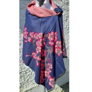 Dark Blue coloured Cashmere wrap with pink cherry blossom design