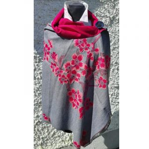 Light Grey coloured Cashmere wrap with cerise pink cherry blossom design
