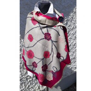 Light Grey Cashmere wrap with floral design