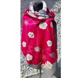 Dark Red coloured Cashmere wrap with rose floral design and cream trim