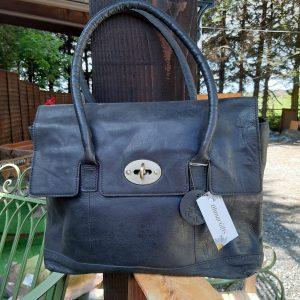 Black Vintage Style Leather Handbag