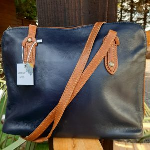 Navy & Tan Leather Handbag