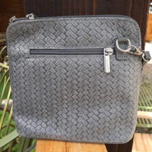 Grey Woven Detail Leather Handbag