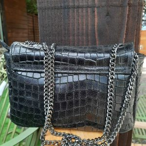 Black Soft Leather Crocodile Pattern Handbag
