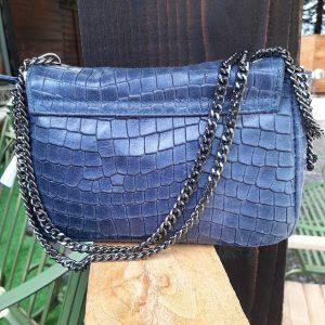 Navy Soft Leather Crocodile Pattern Handbag