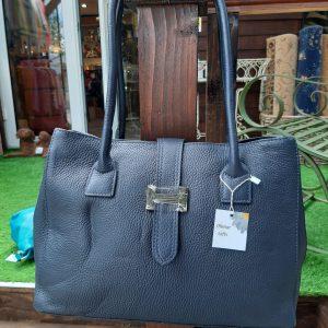 Navy Leather Shoulder Handbag