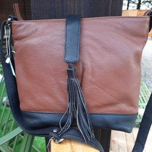 Two Tone Soft Leather Handbag With Tassle Detail