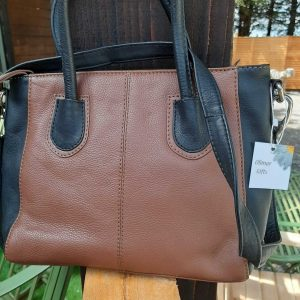 Two Tone Soft Leather Handbag With Long Shoulder Strap