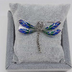 Blue & Green Enamel Marcasite Dragonfly Brooch
