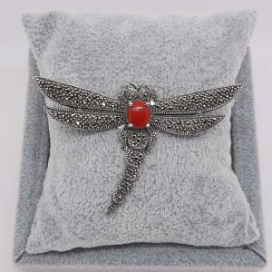 Marcasite Red Dragon Fly Brooch