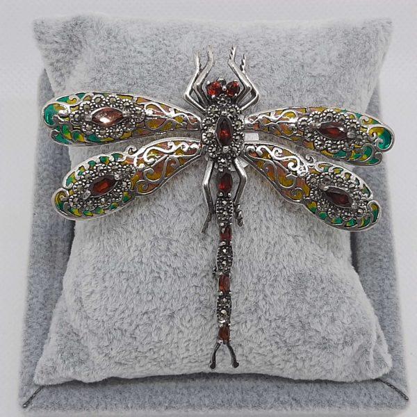 Garnet Dragonfly Brooch